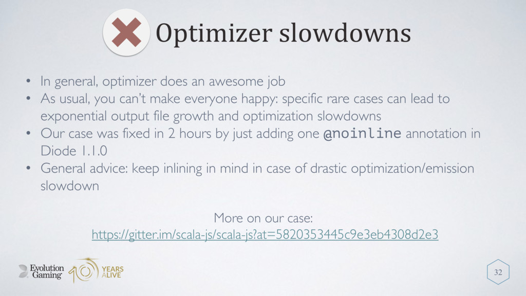 Optimizer slowdowns 32 • In general, optimizer ...