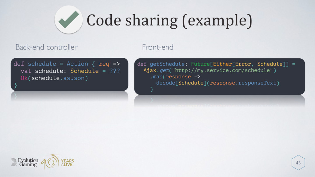 Code sharing (example) 43 def schedule = Action...