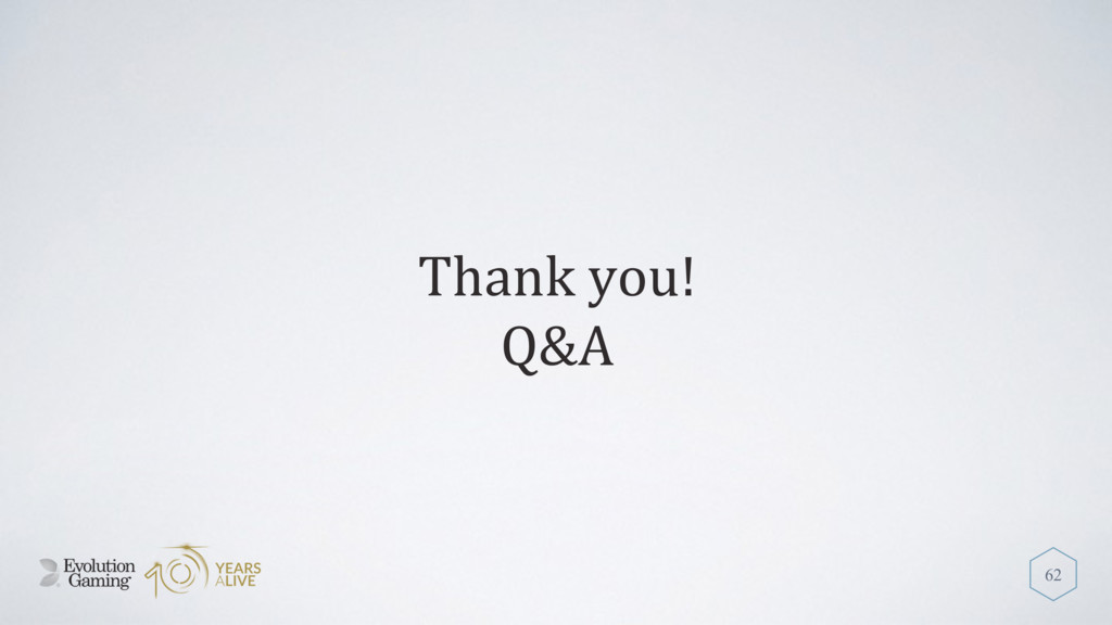Thank you! Q&A 62