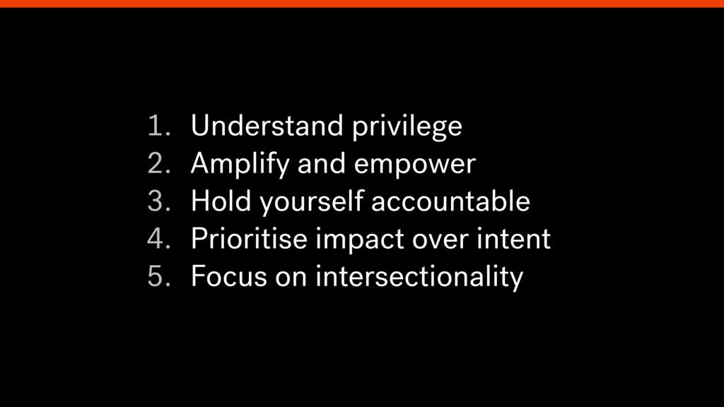 1. Understand privilege 2. Amplify and empower ...