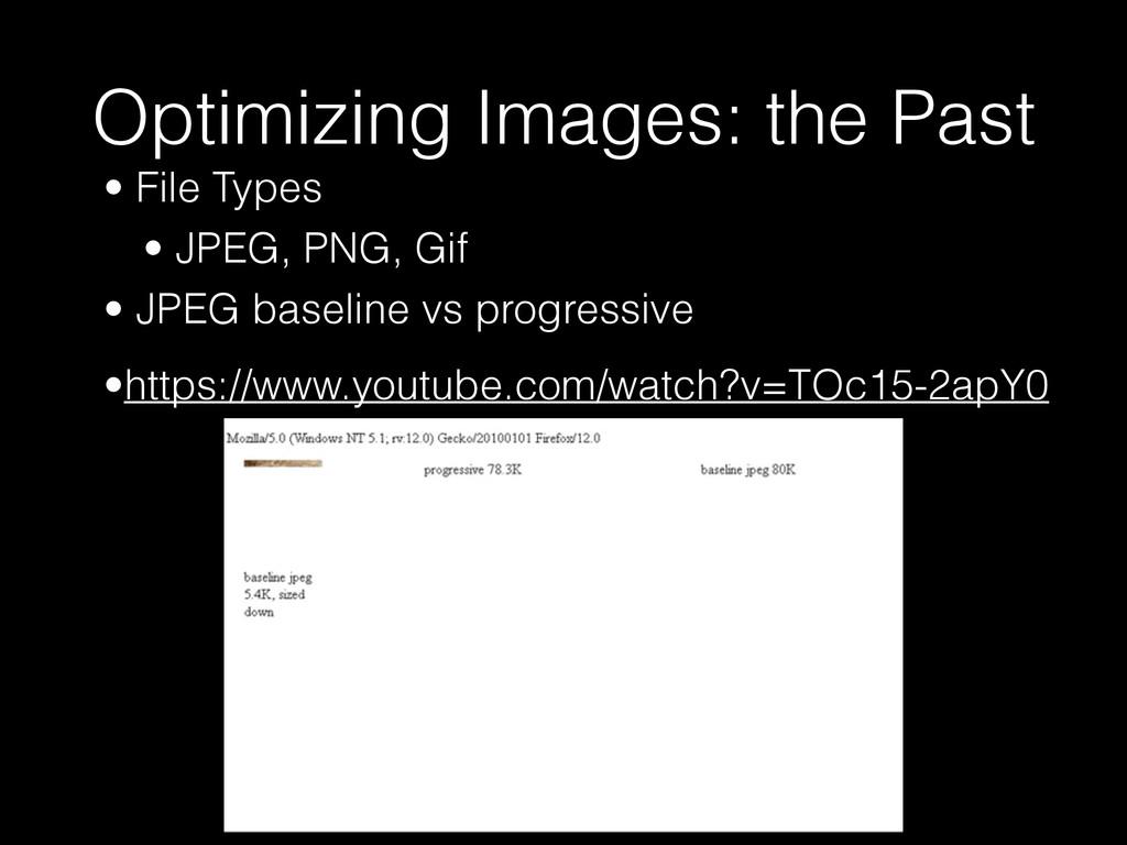 Optimizing Images: the Past • File Types • JPEG...