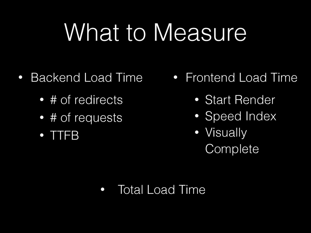 What to Measure • Backend Load Time • # of redi...