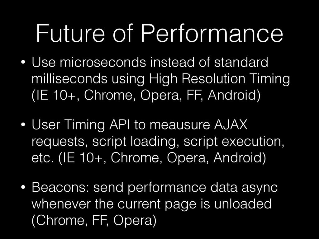 Future of Performance • Use microseconds instea...