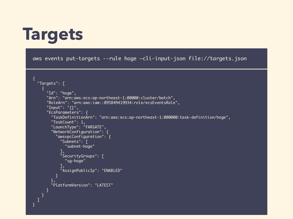 "{ ""Targets"": [ { ""Id"": ""hoge"", ""Arn"": ""arn:aws:..."