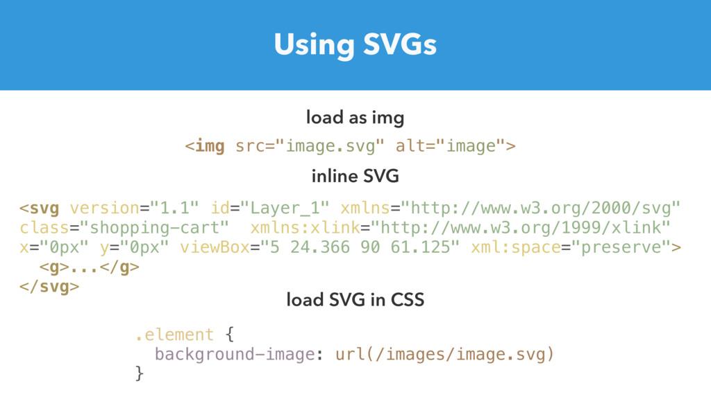 "Using SVGs <img src=""image.svg"" alt=""image""> lo..."