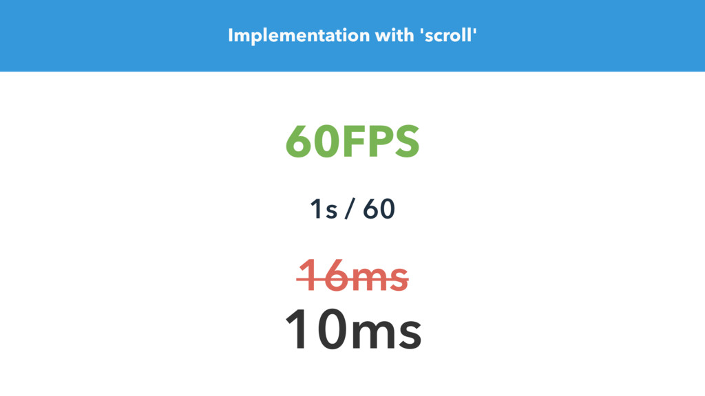 Implementation with 'scroll' 60FPS 1s / 60 10ms...