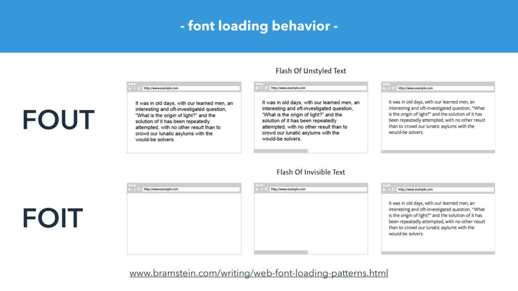 - font loading behavior - FOUT FOIT www.bramste...