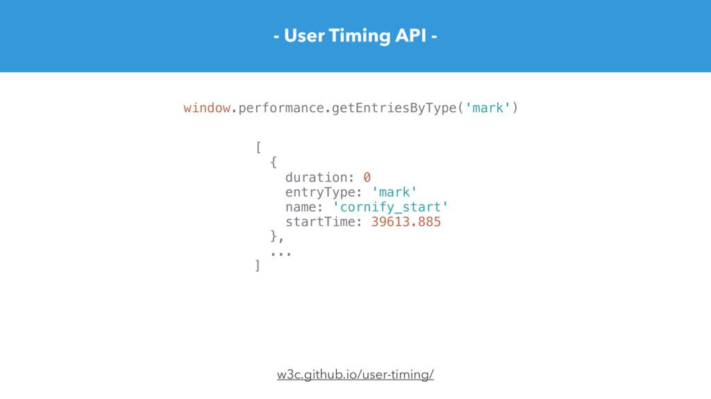 - User Timing API - w3c.github.io/user-timing/ ...