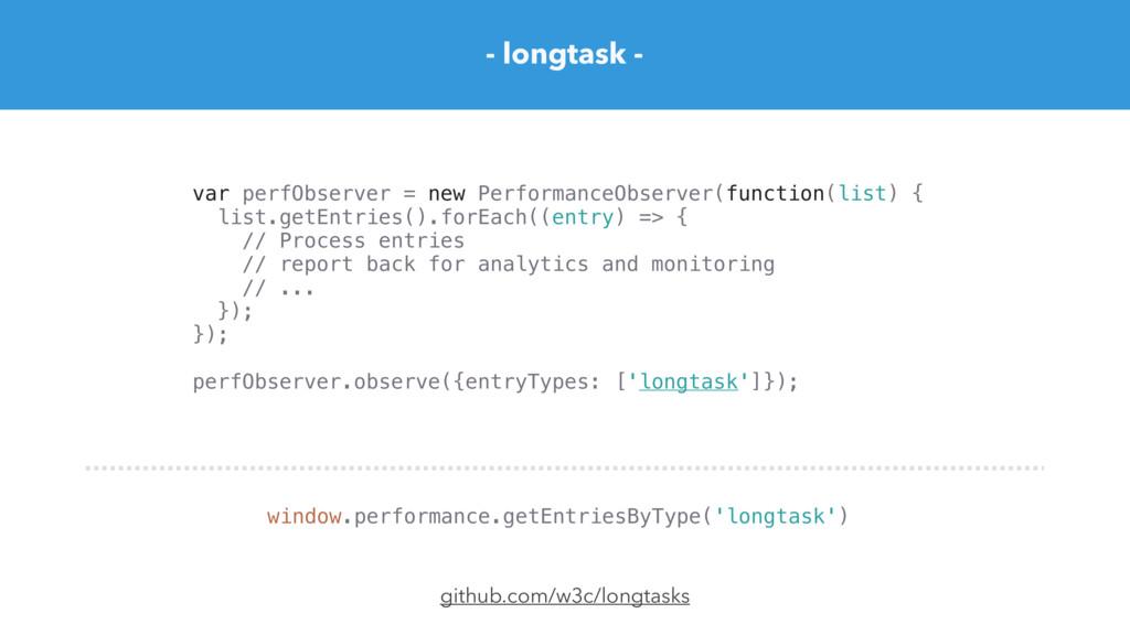 github.com/w3c/longtasks var perfObserver = new...