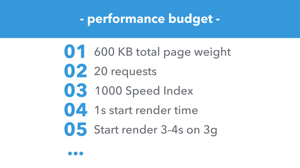 - performance budget - 600 KB total page weight...