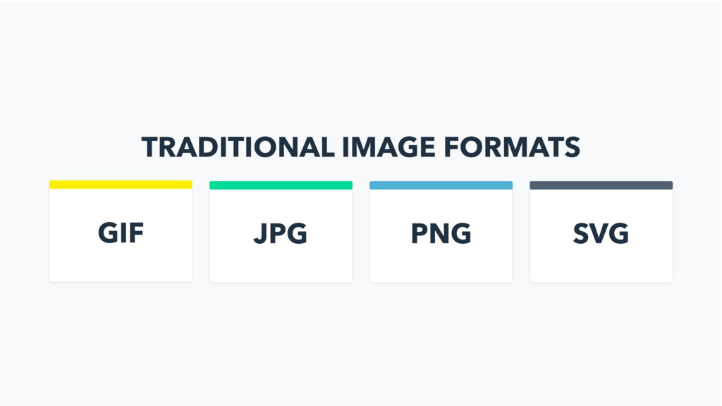 TRADITIONAL IMAGE FORMATS GIF JPG PNG SVG