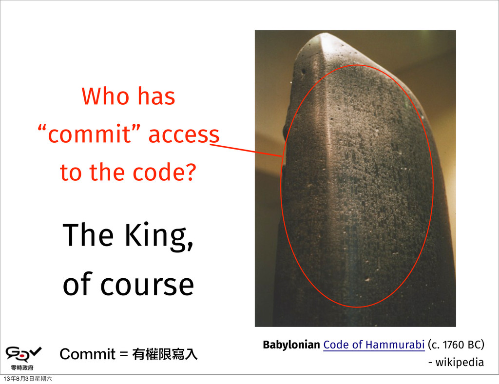 """Who has """"commit"""" access to the code? Commit = 有..."""