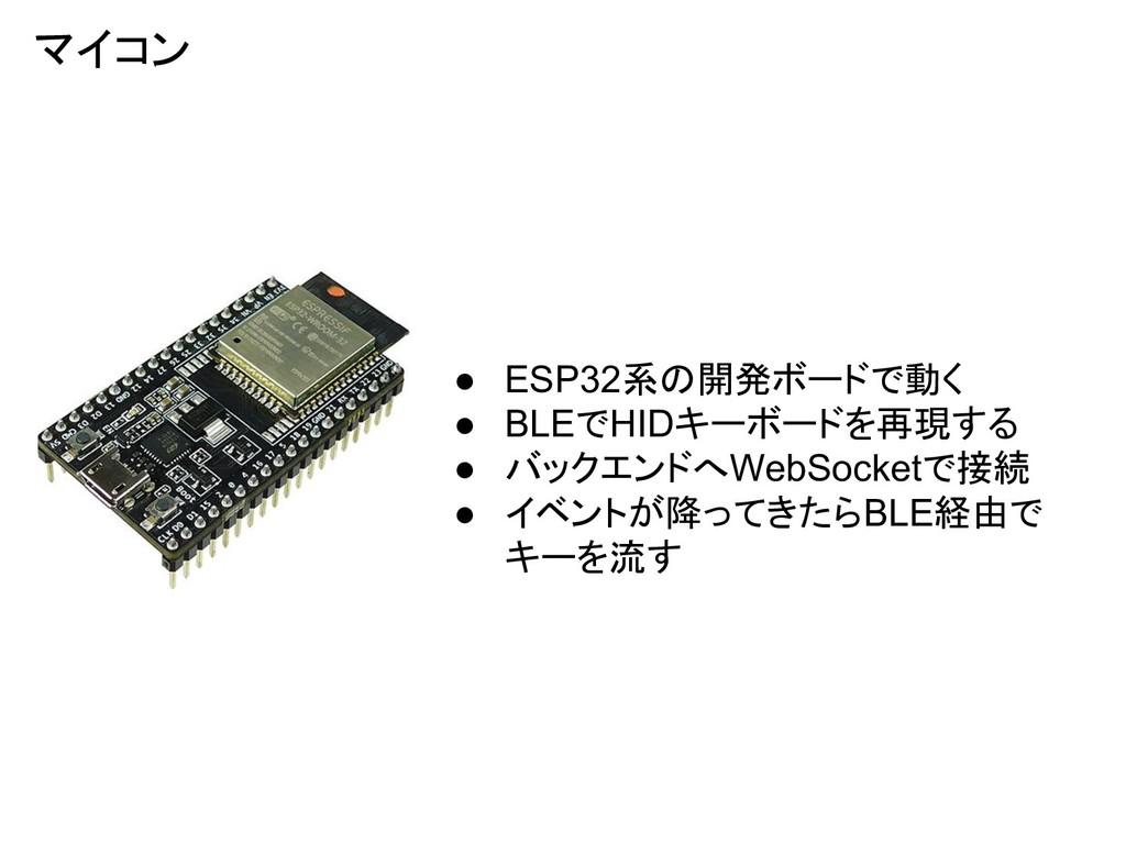 マイコン ● ESP32系の開発ボードで動く ● BLEでHIDキーボードを再現する ● バッ...