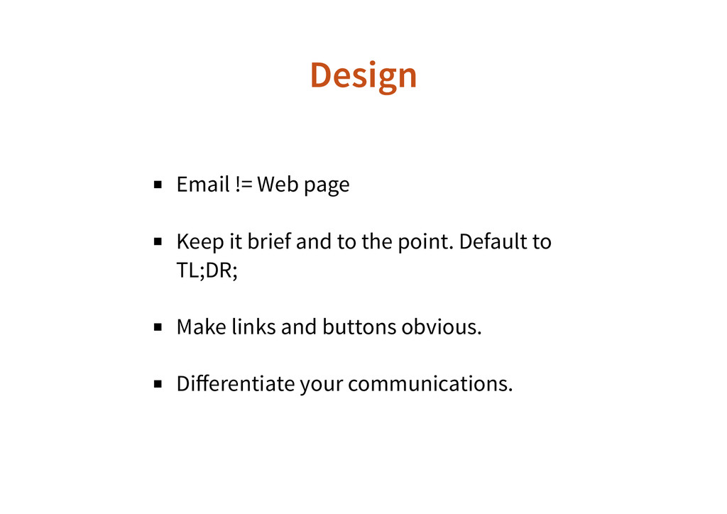 Email != Web page Keep it brief and to the poin...