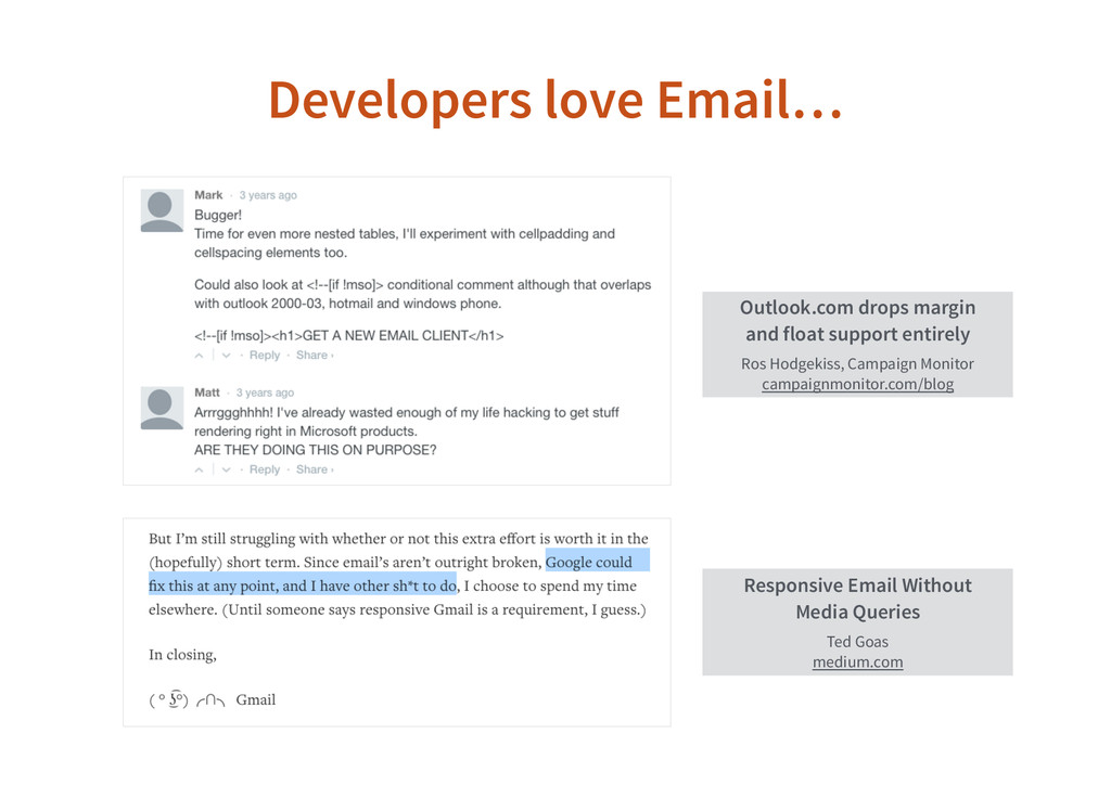 Developers love Email… Outlook.com drops margin...