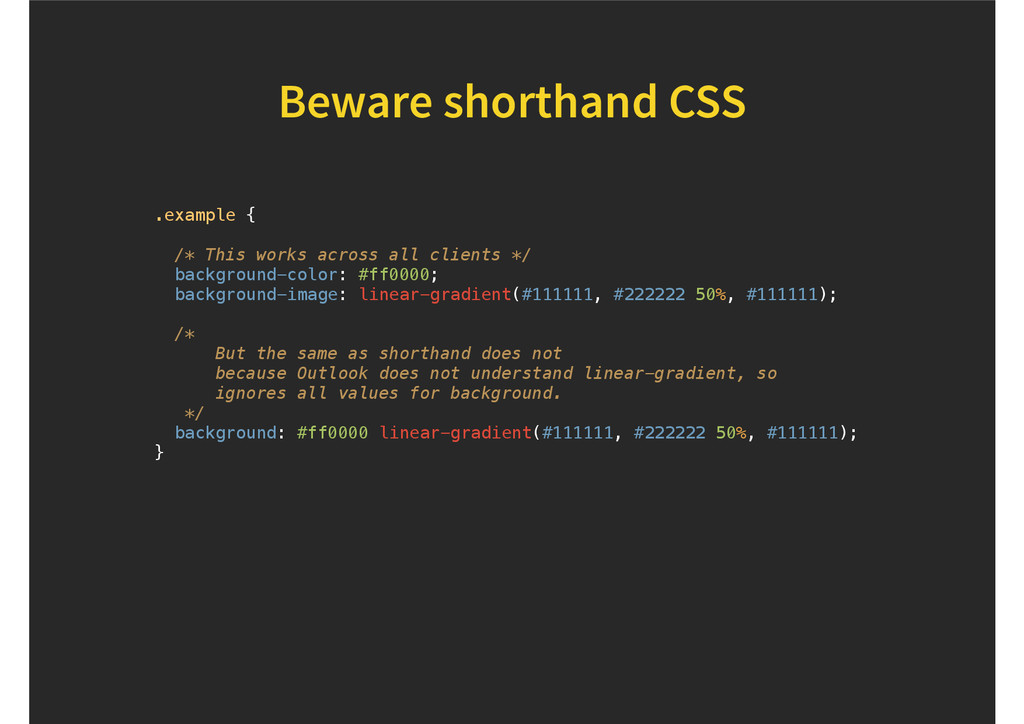 Beware shorthand CSS .example { /* This works a...