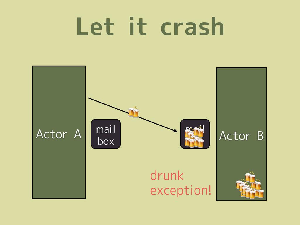 Let it crash Actor A Actor B mail box  drunk ex...