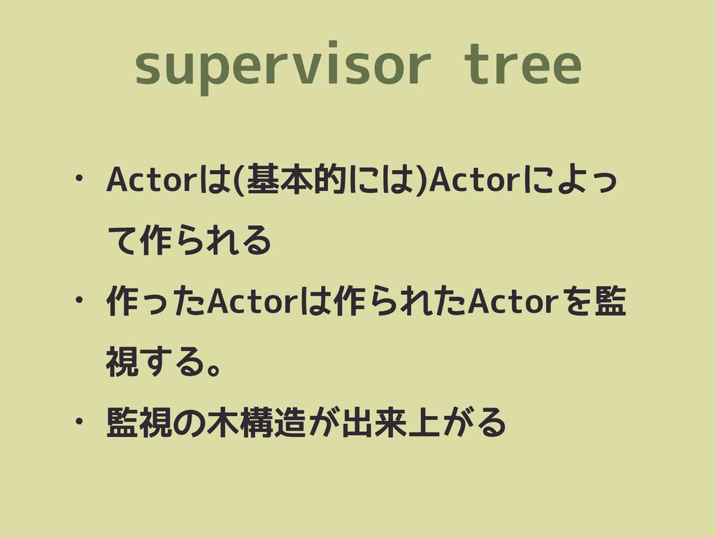 supervisor tree • Actorは(基本的には)Actorによっ て作られる •...