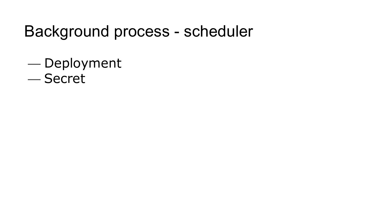 Background process - scheduler — Deployment — S...