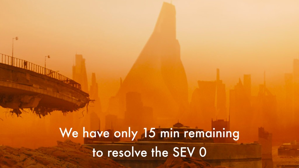 We have only 15 min remaining to resolve the SE...
