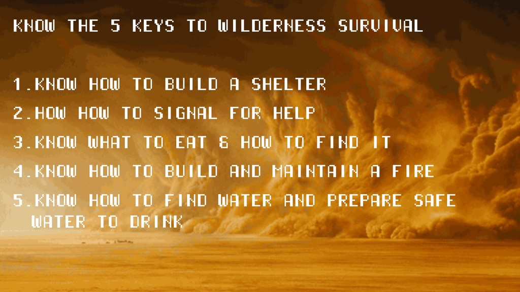 KNOW THE 5 KEYS TO WILDERNESS SURVIVAL 1.KNOW H...