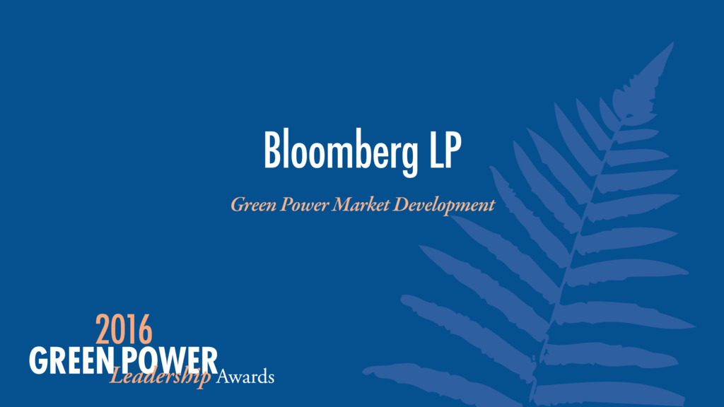 Green Power Market Development Bloomberg LP