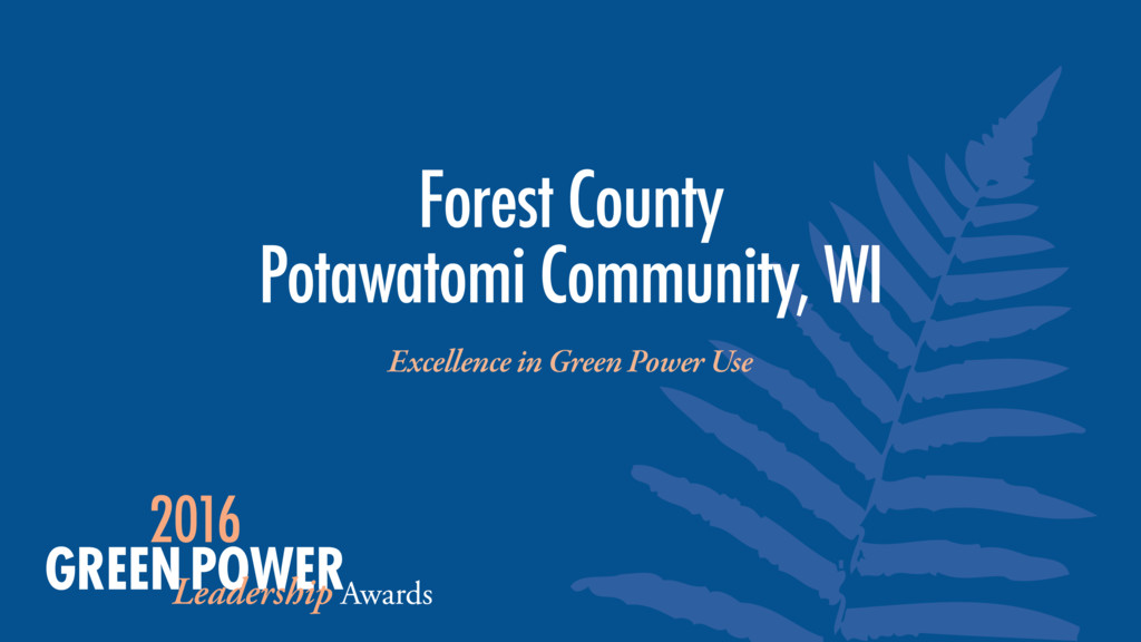 Excellence in Green Power Use Forest County Po...