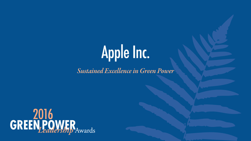 Sustained Excellence in Green Power Apple Inc.