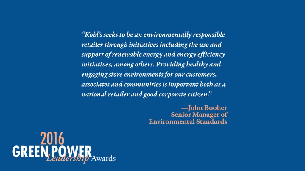 —John Booher Senior Manager of Environmental St...