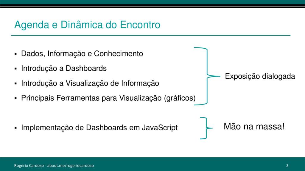 Agenda e Dinâmica do Encontro  Dados, Informaç...