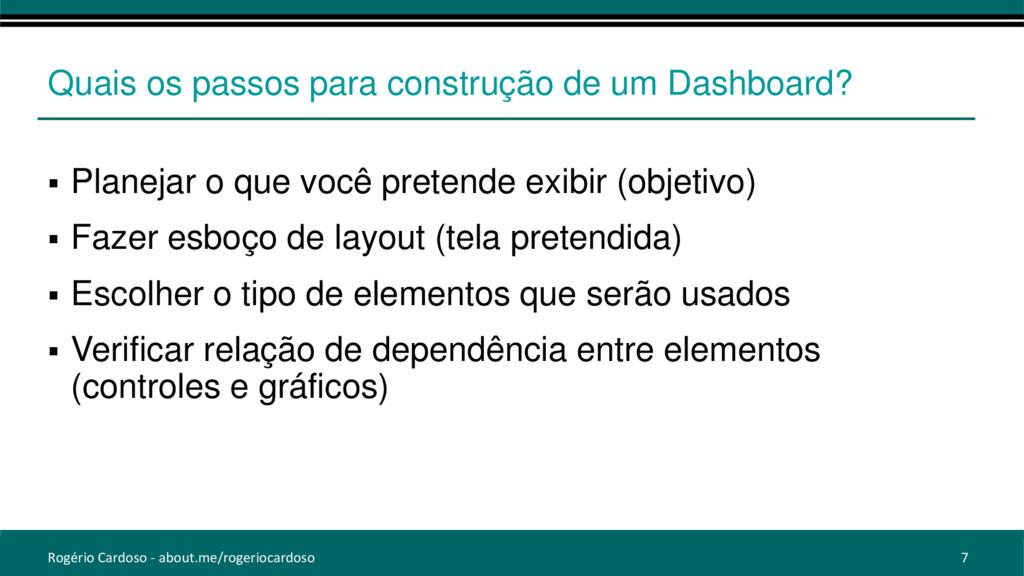 Quais os passos para construção de um Dashboard...