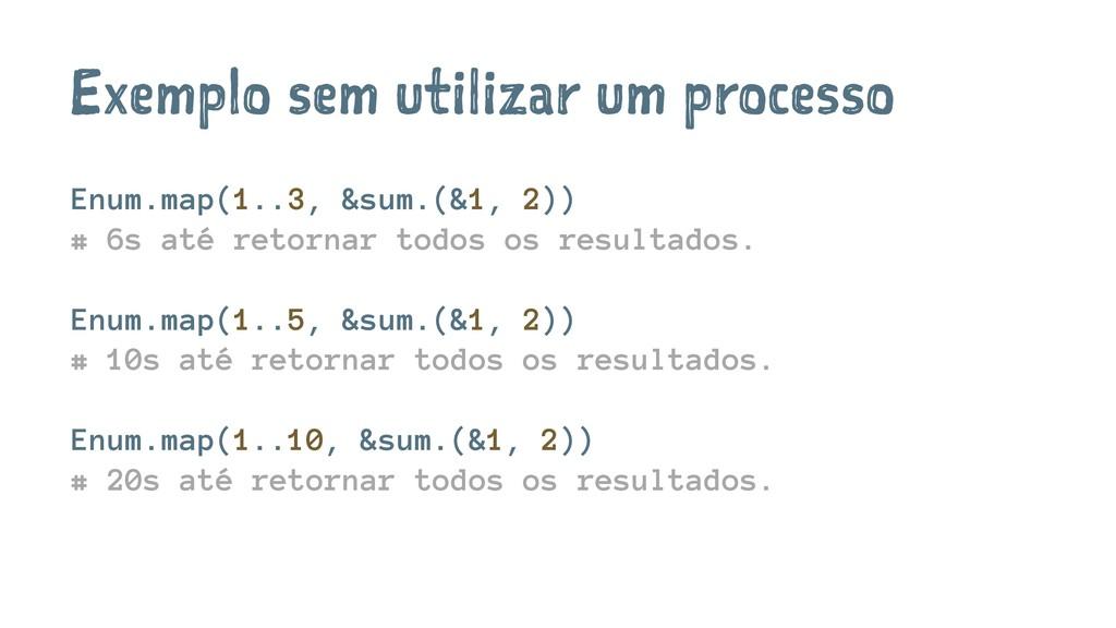 Exemplo sem utilizar um processo Enum.map(1..3,...