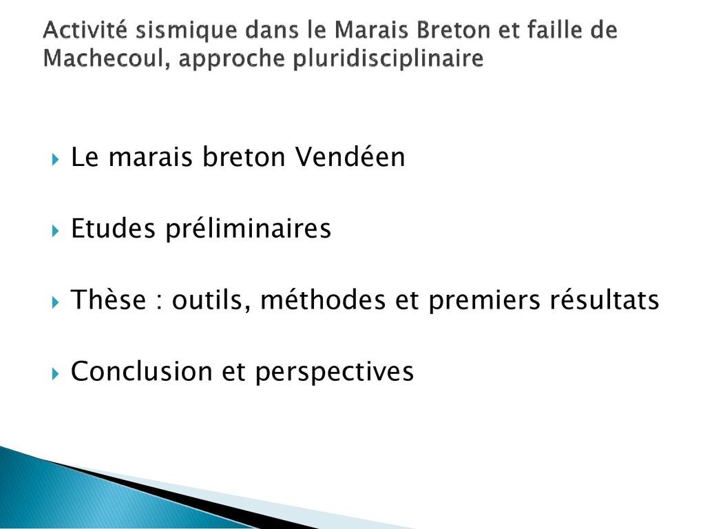  Le marais breton Vendéen  Etudes préliminair...