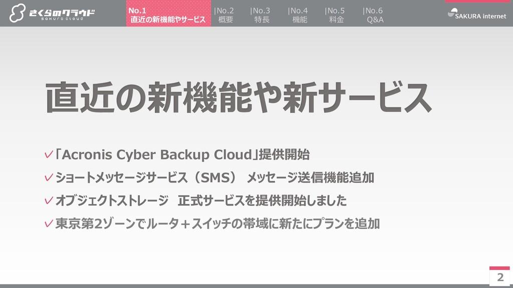 2 ✓「Acronis Cyber Backup Cloud」提供開始 ✓ショートメッセージサ...
