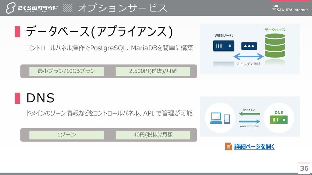 36 36 ▌データベース(アプライアンス) コントロールパネル操作でPostgreSQL、M...