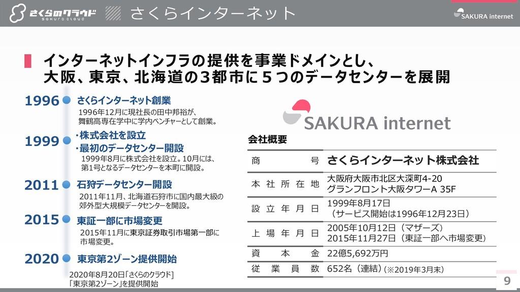 9 9 ▌ インターネットインフラの提供を事業ドメインとし、 大阪、東京、北海道の3都市に5つ...