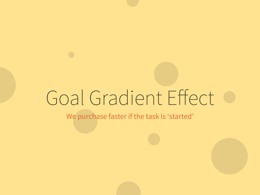 Goal Gradient Effect We purchase faster if the t...