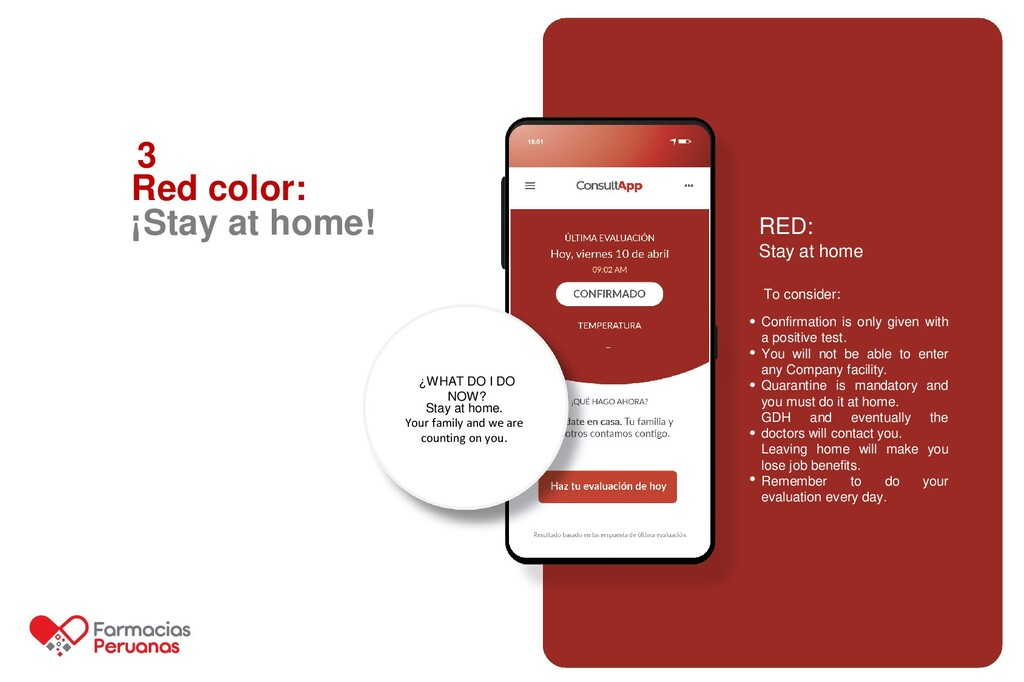 3 Red color: ¡Stay at home! RED: Stay at home C...