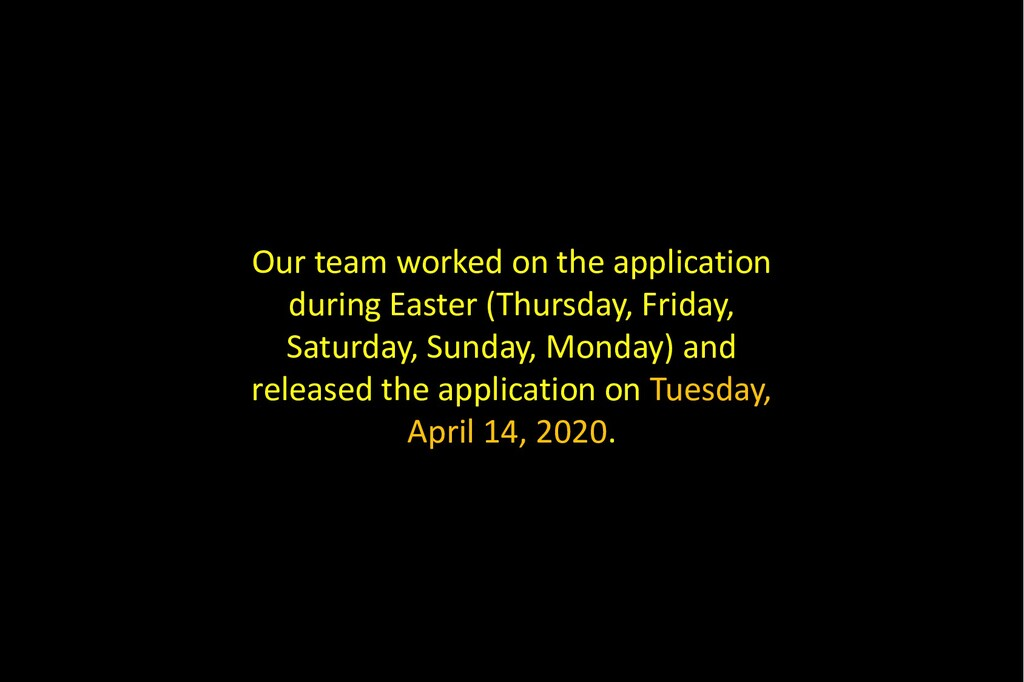 Our team worked on the application during Easte...