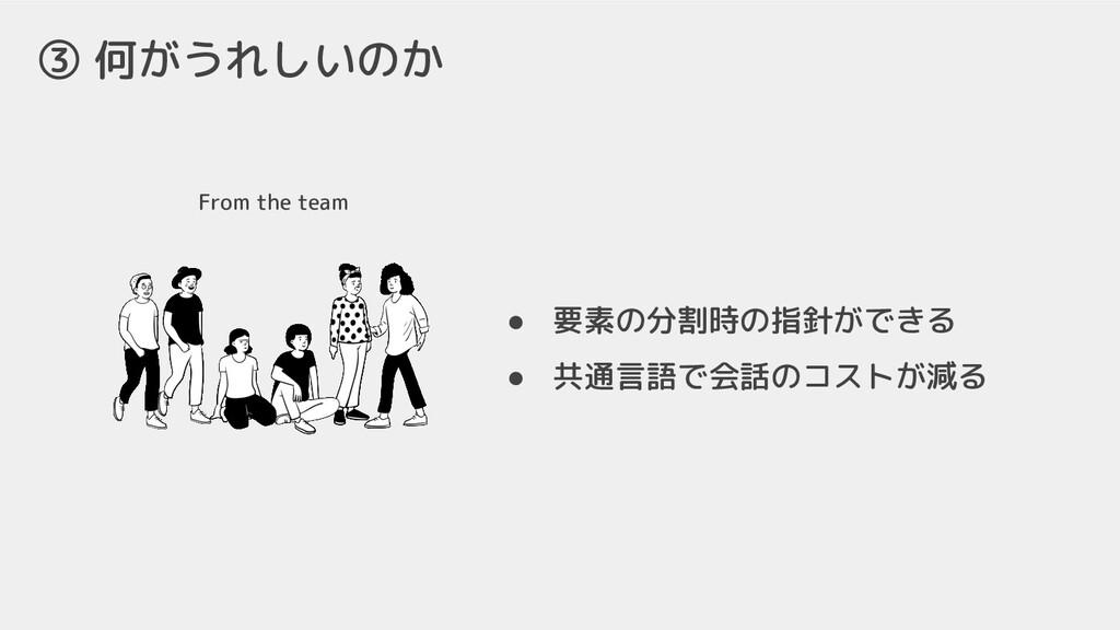 From the team ③ 何がうれしいのか ● 要素の分割時の指針ができる ● 共通言語...