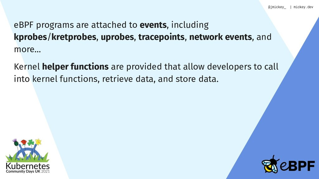 eBPF programs are attached to events, including...