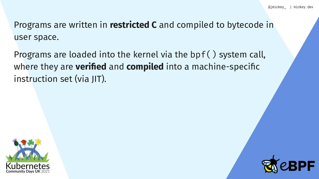 Programs are written in restricted C and compil...