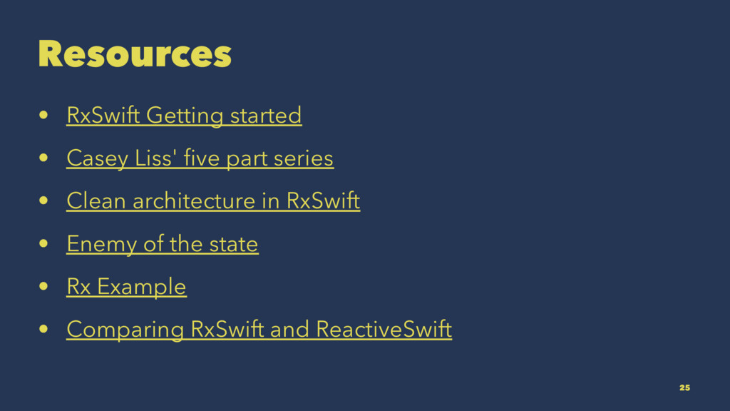 Resources • RxSwift Getting started • Casey Lis...
