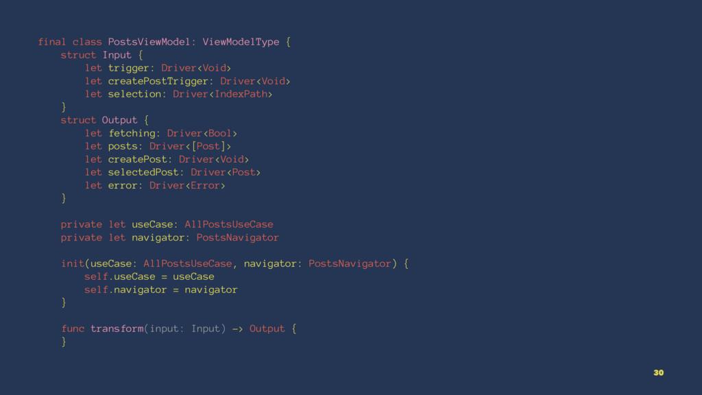 final class PostsViewModel: ViewModelType { str...