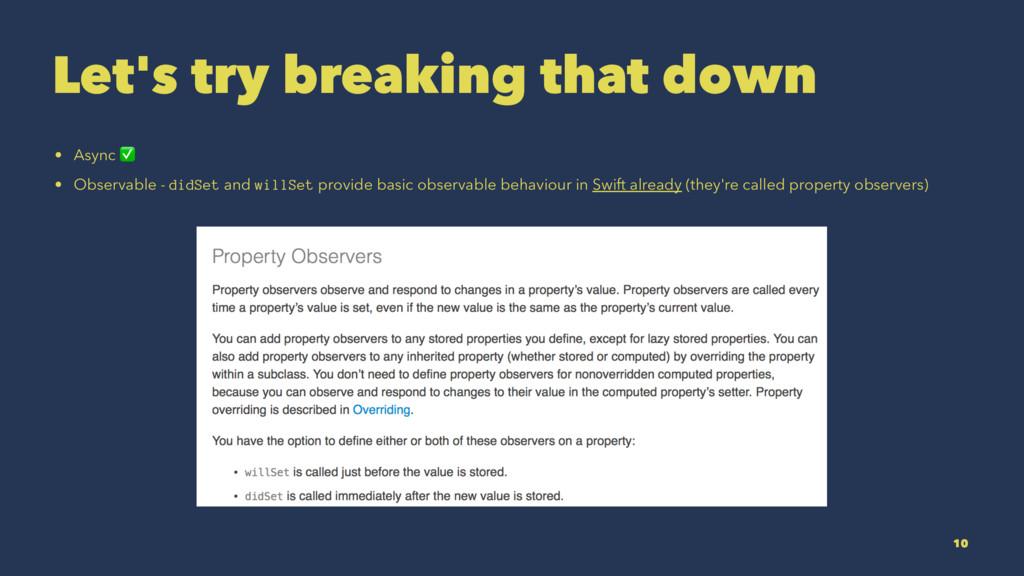 Let's try breaking that down • Async ✅ • Observ...