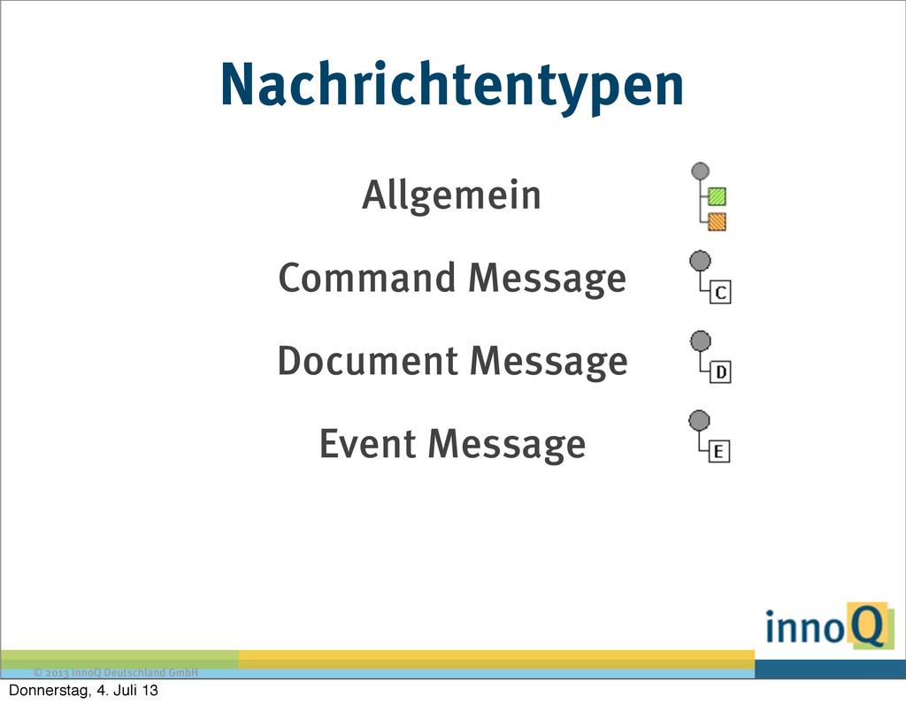 © 2013 innoQ Deutschland GmbH Nachrichtentypen ...