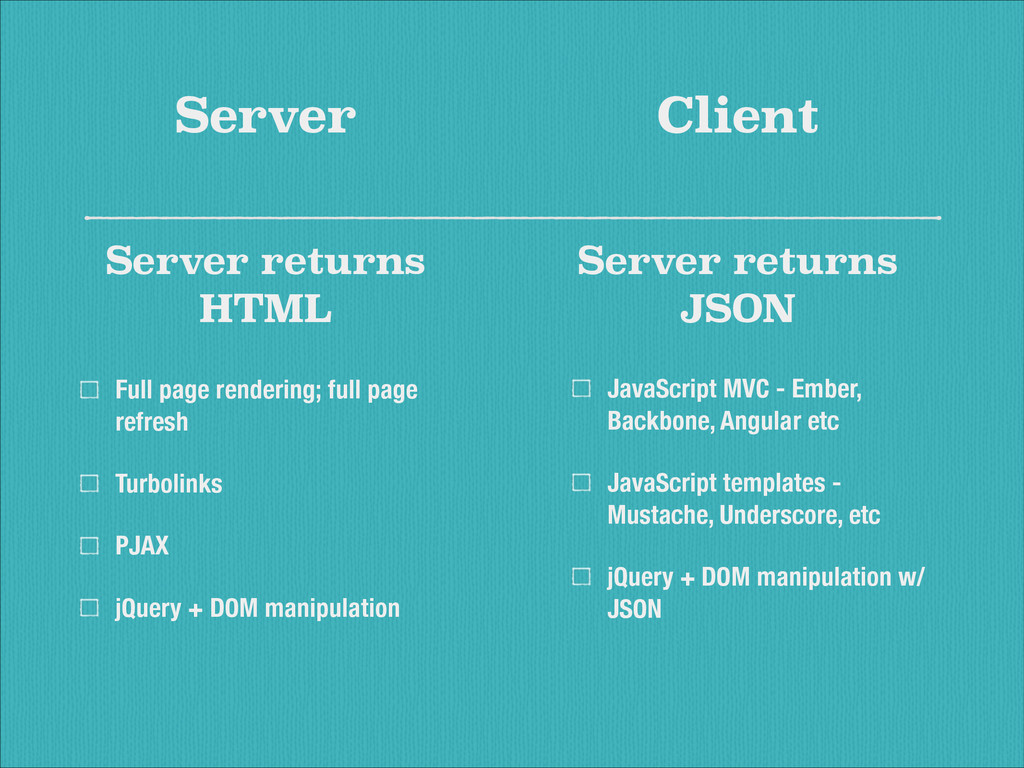 Server JavaScript MVC - Ember, Backbone, Angula...