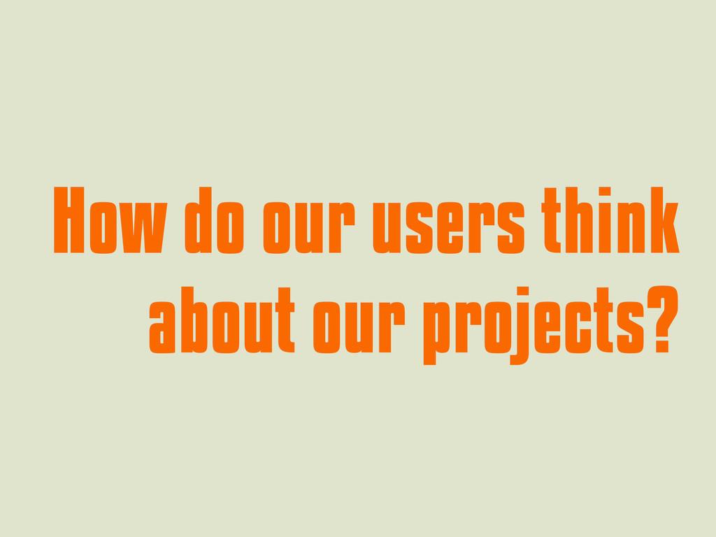How do our users think How do our users think a...