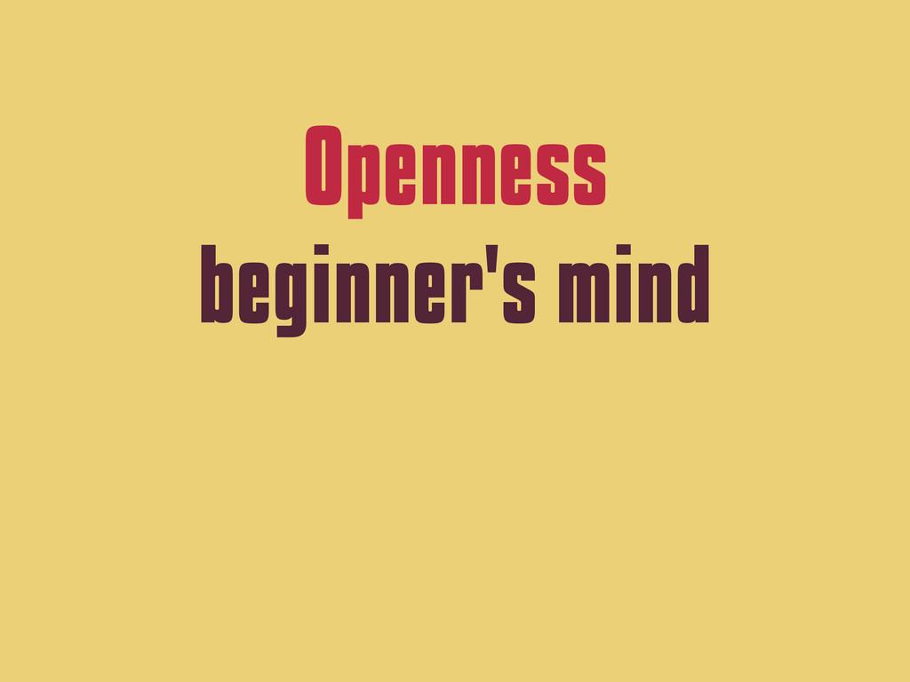 Openness beginner's mind