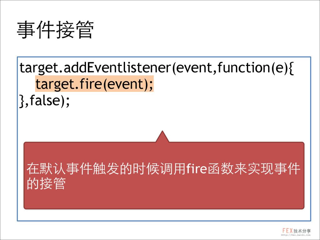 事件接管 target.addEventlistener(event,function(e){...